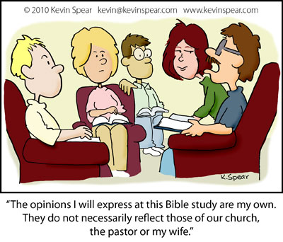 Cartoon of people at a group study. A man says, �The opinions I will express